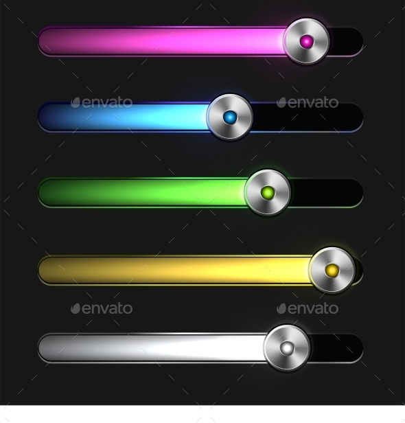 Equalizer Glossy Glowing Track Bar - Web Elements Vectors
