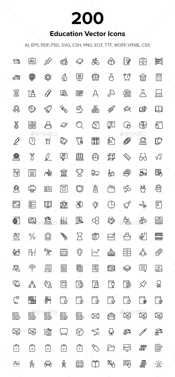 200 Education Icons - Icons