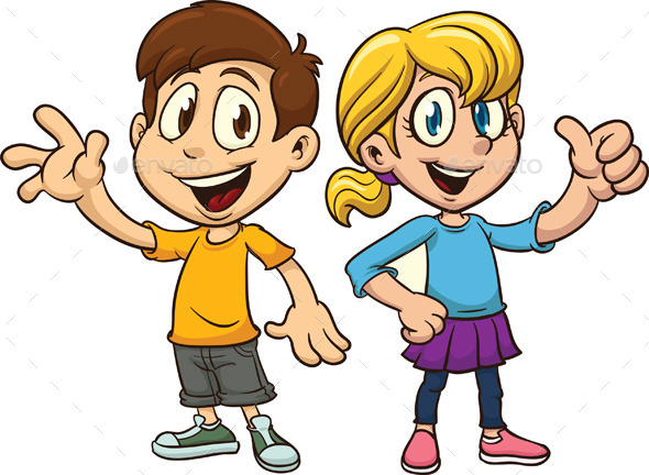 Cartoon Boy and Girl - People Characters