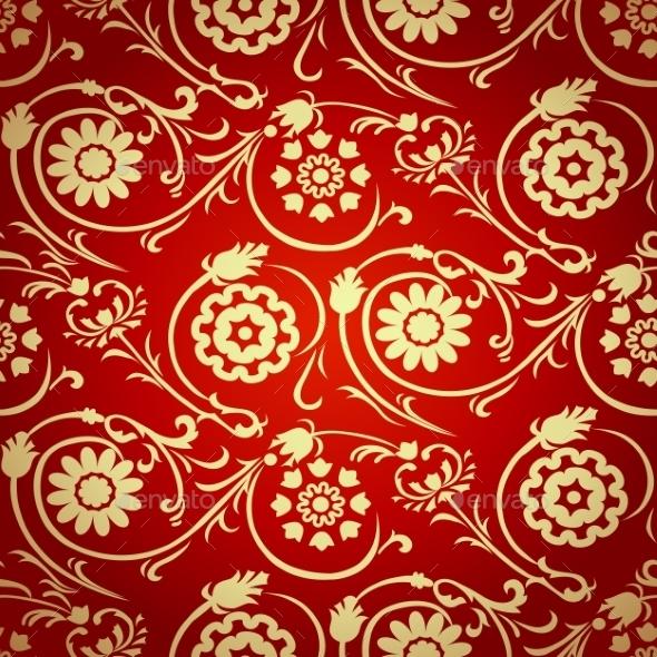 Decorative Seamless Pattern in Ottoman Motif - Patterns Decorative