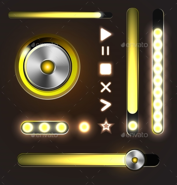 Equalizer and Player Metal Buttons with Track Bar - Web Elements Vectors