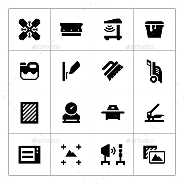 Set Icons of Screen Printing - Man-made objects Objects