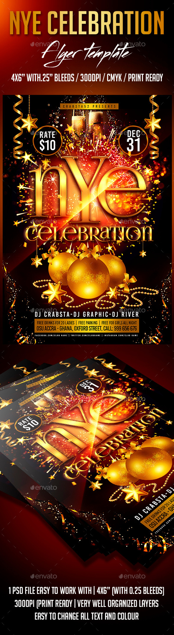 New Years Eve Celebration Flyer Template - Clubs & Parties Events