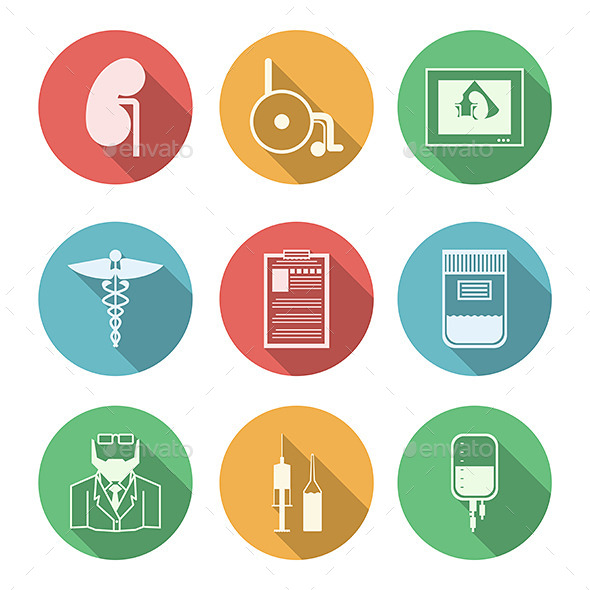 Colored Icons for Nephrology - Health/Medicine Conceptual