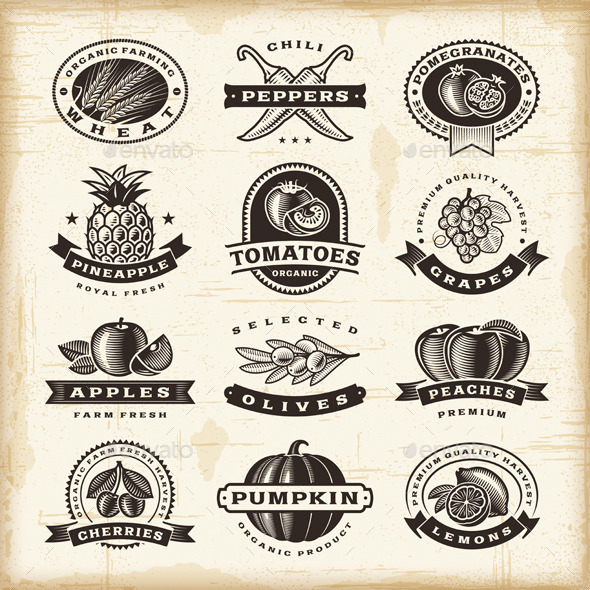 Vintage Fruits And Vegetables Labels Set - Decorative Symbols Decorative