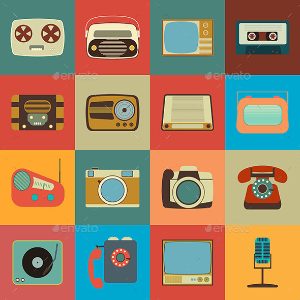 Retro Style Media Icons - Media Icons