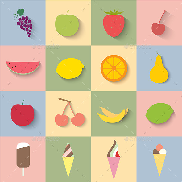 Fruit and Ice Cream Icons - Food Objects