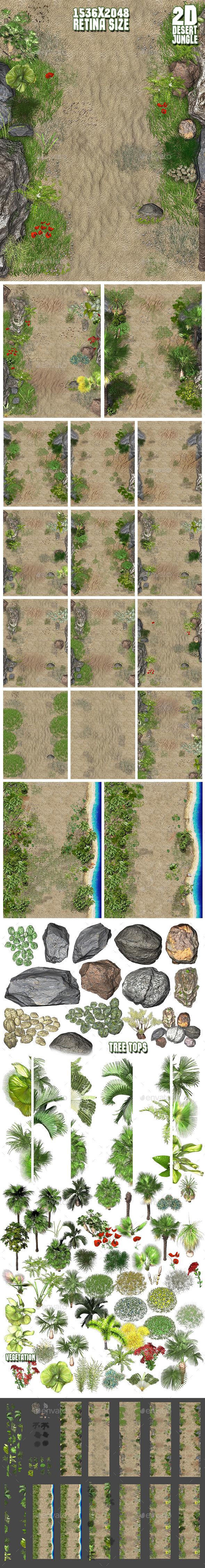 2D Desert Jungle Construction Set - Tilesets Game Assets