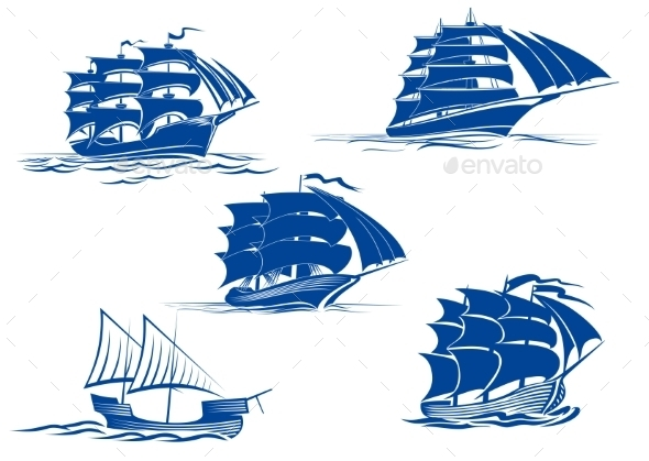 Sailing Ship Symbols - Travel Conceptual