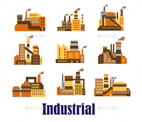 Flat Industrial Icons of Plants and Factories - Buildings Objects