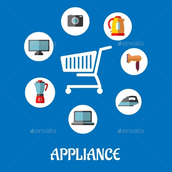 Flat Household Appliances Icons - Technology Conceptual