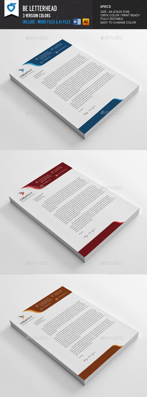 Be Letterhead - Stationery Print Templates