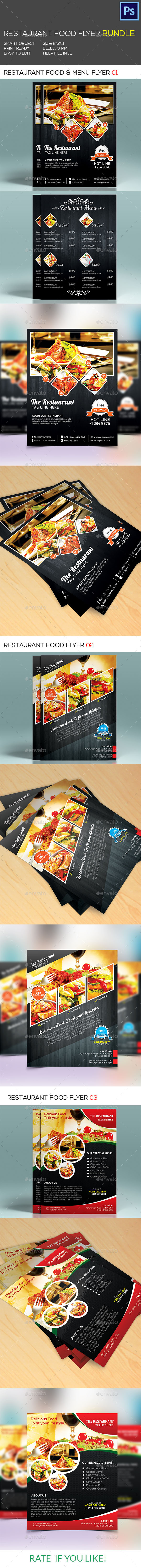 Restaurant Food & Menu Flyer Bundle - Restaurant Flyers