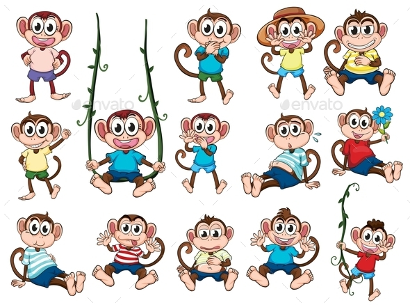 Group of Monkeys - Animals Characters