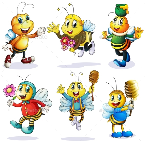 Group of Happy Bees - Animals Characters