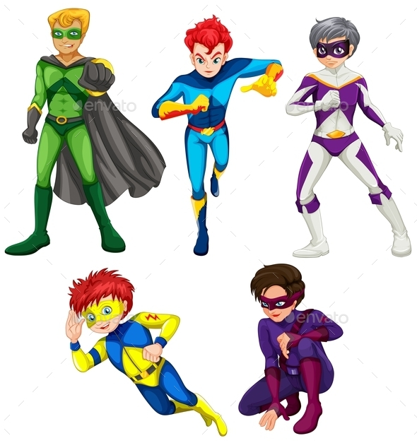 Five Superheroes - People Characters