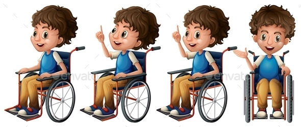Boy on Wheelchair - People Characters