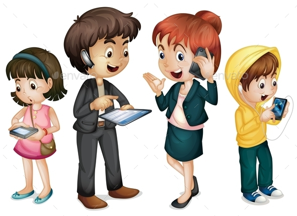 Family using Technology - People Characters