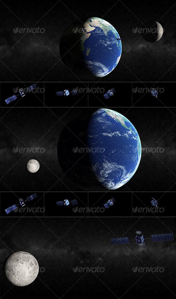 Earth-Moon-Satellite - 3DOcean Item for Sale