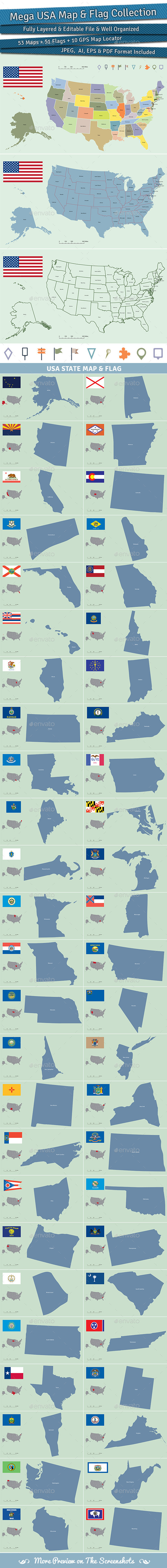 Mega USA Map and Flag Collection - Miscellaneous Vectors