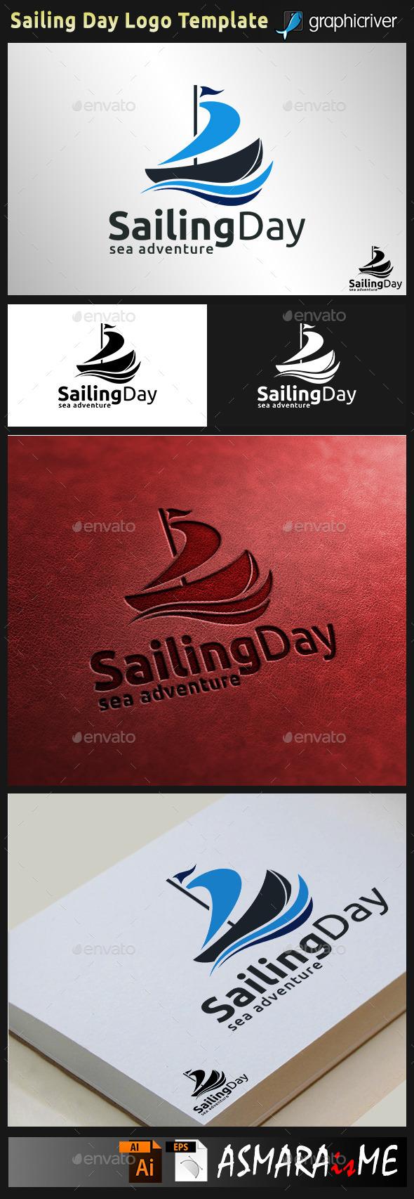 Sailing Day - Sailboat Logo - Symbols Logo Templates