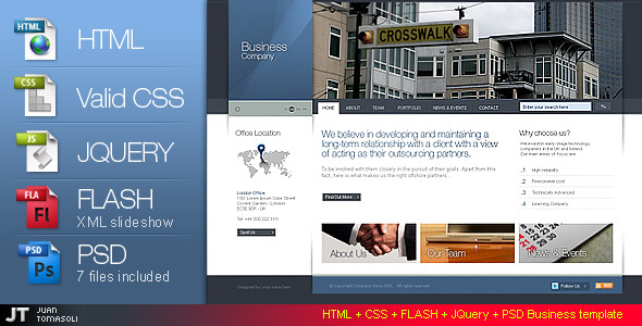 Free Download HTML + CSS + FLASH + PSD Business template version Nulled Latest Version