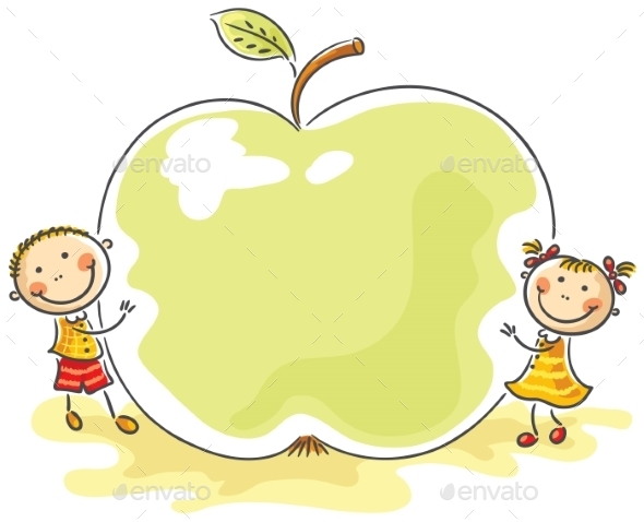 Little Kids with a Giant Apple - Food Objects