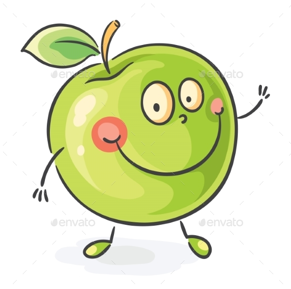 Smiling Cartoon Apple - Food Objects
