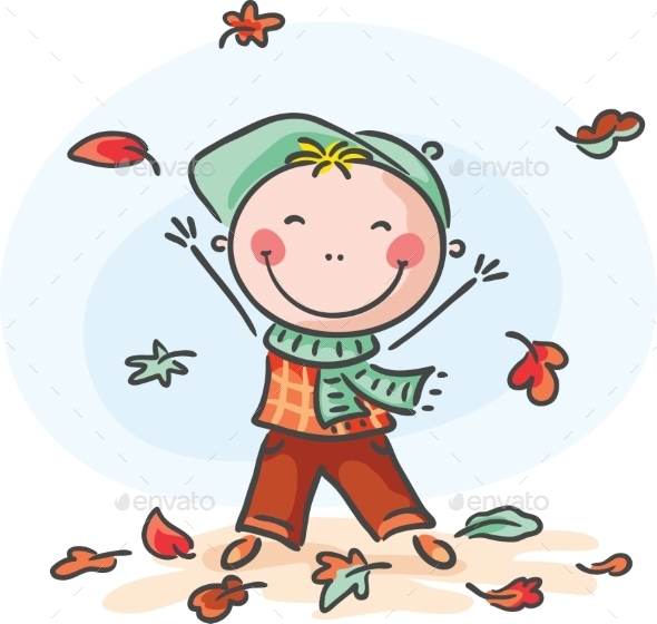 Little Boy Playing with the Leaves - Seasons Nature
