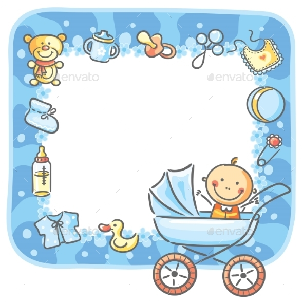 Frame with Baby-Boy Things by katya_dav | GraphicRiver