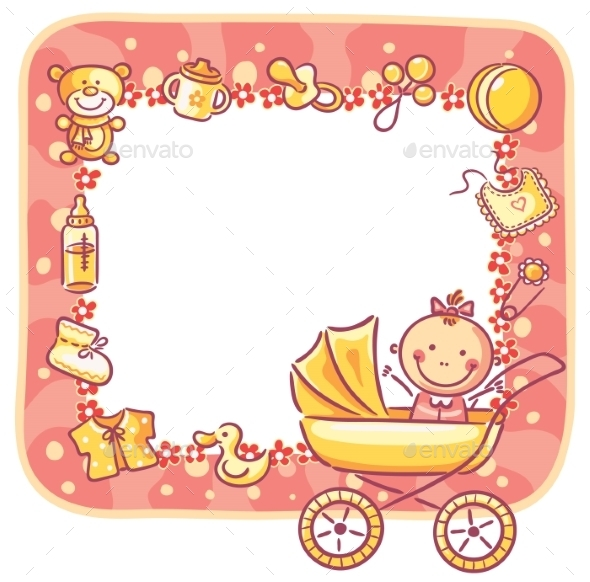 Frame with Baby-Girl Things by katya_dav | GraphicRiver