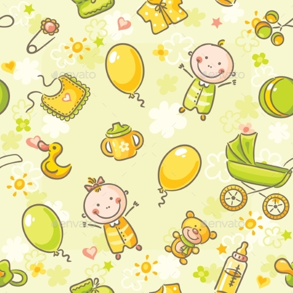 Seamless Pattern with Babies - Backgrounds Business
