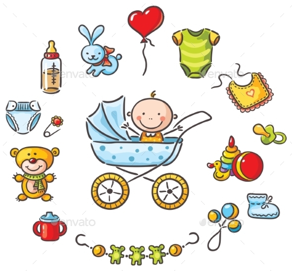 Baby in a Baby-Carriage with Baby Things - Objects Vectors