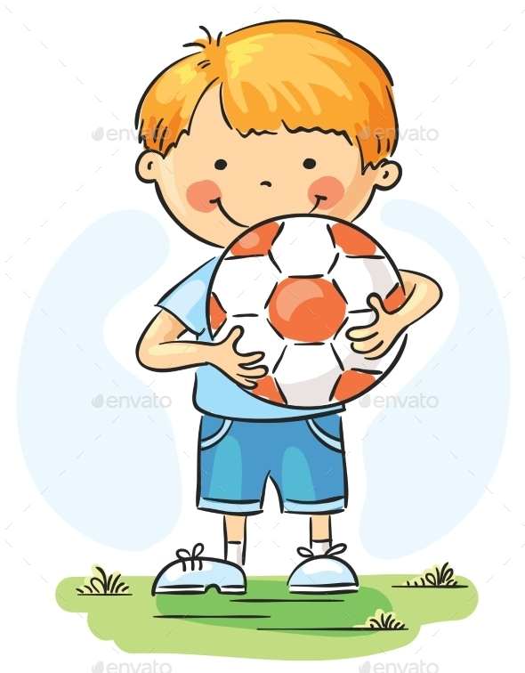 Little Boy with Football  - People Characters