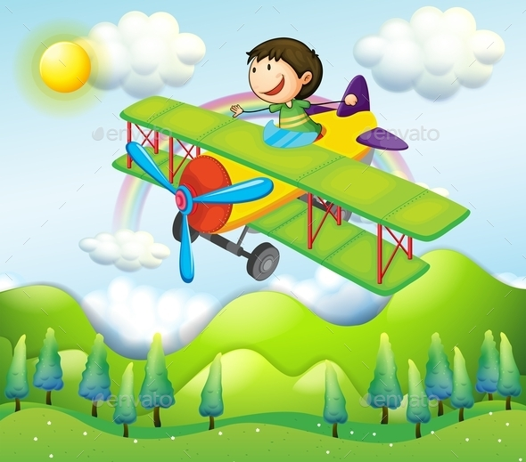 Young Man Riding in a Colorful Plane - People Characters