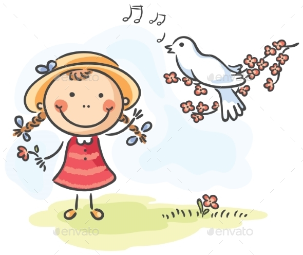 Little Girl and Bird's - People Characters