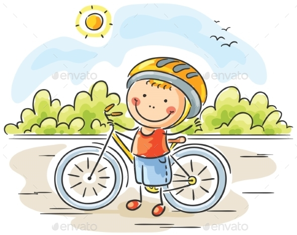 Little Boy and Bike - People Characters
