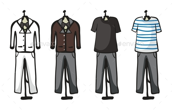 Various Garments of Male - Man-made Objects Objects