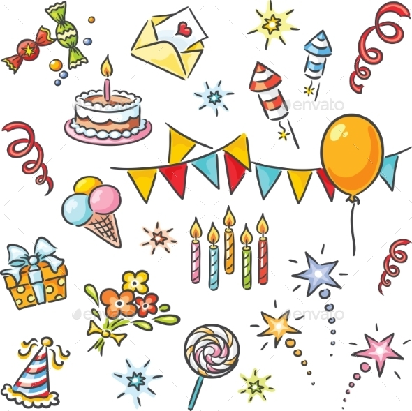 Cartoon Birthday Set - Backgrounds Business