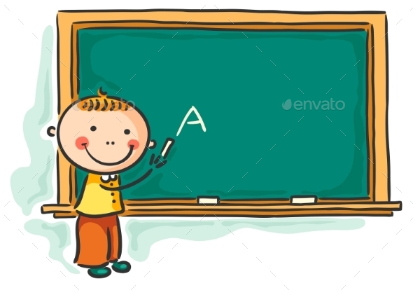 Little Boy at the Blackboard - People Characters