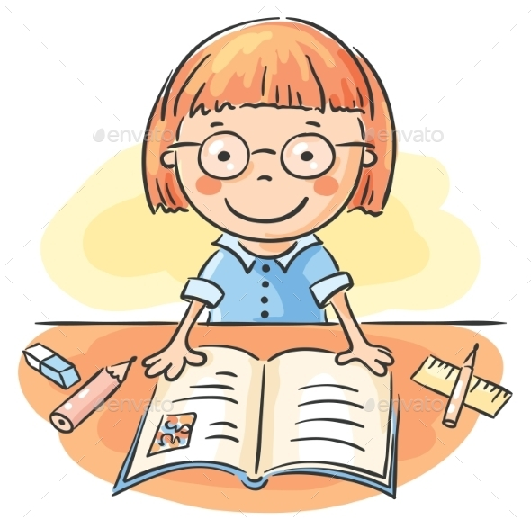 Girl Reading a Book - People Characters