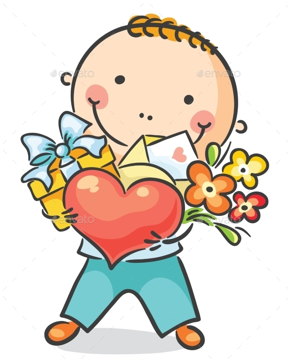 Boy with a Heart, Flowers and Present - Birthdays Seasons/Holidays