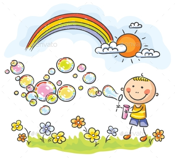 Child Blowing Soap Bubbles - People Characters