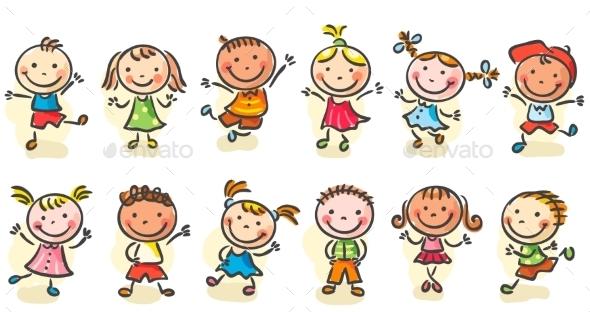Happy Cartoon Sketchy Kids - People Characters
