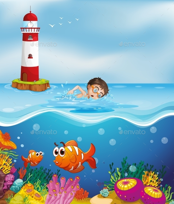Boy Swimming at the Beach with a Lighthouse - People Characters
