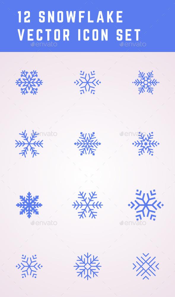 12 Snowflake Icons - Seasons Nature