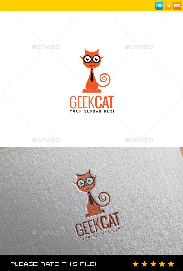 Geek Cat Logo - Animals Logo Templates