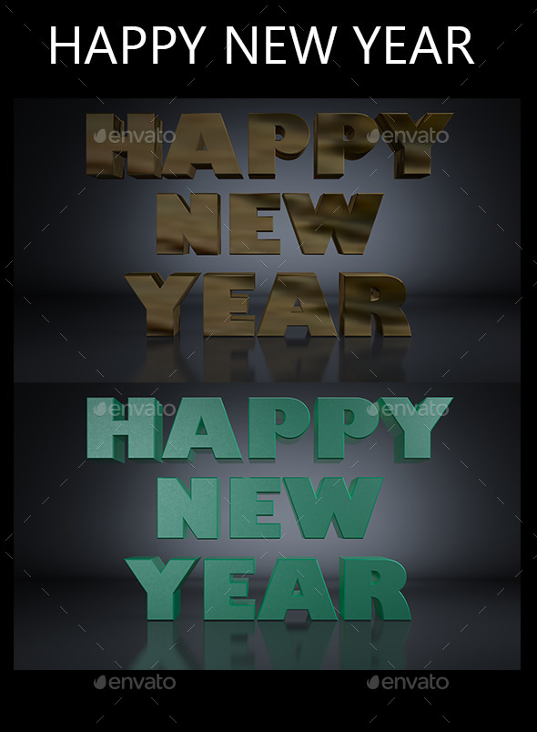Happy New Year 3D Render - Backgrounds Graphics