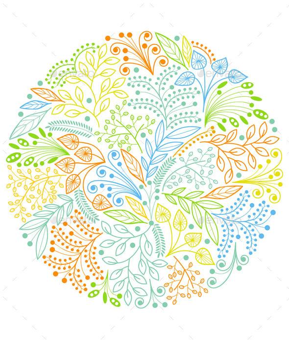 Bright Decorative Floral Composition - Flourishes / Swirls Decorative