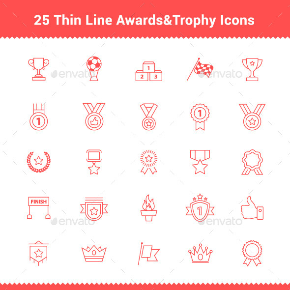 25 Thin Line Stroke Awards Icons - Objects Icons